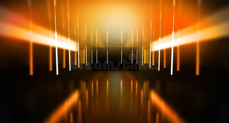 De zwarte tunnel, zwarte polijst, T.L.-buizen die die van het plafond hangen, in de muren en de vloer wordt weerspiegeld Nachtmen stock afbeeldingen