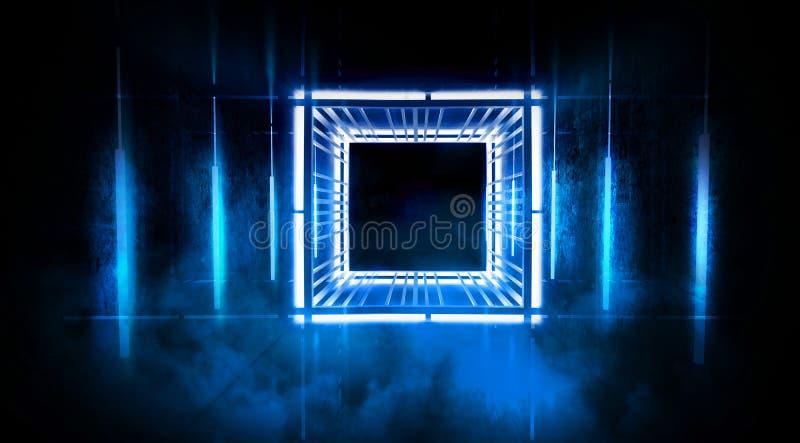 De zwarte tunnel, zwarte polijst, T.L.-buizen die die van het plafond hangen, in de muren en de vloer wordt weerspiegeld Nachtmen royalty-vrije stock afbeelding