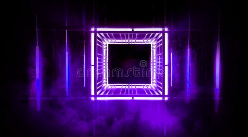 De zwarte tunnel, zwarte polijst, T.L.-buizen die die van het plafond hangen, in de muren en de vloer wordt weerspiegeld Nachtmen royalty-vrije stock fotografie