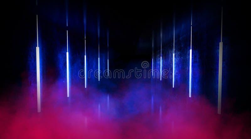 De zwarte tunnel, zwarte polijst, T.L.-buizen die die van het plafond hangen, in de muren en de vloer wordt weerspiegeld Nachtmen royalty-vrije stock foto's