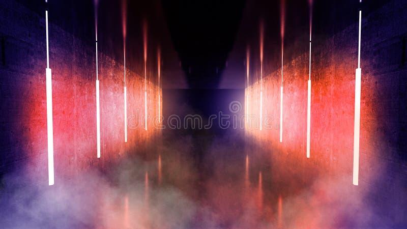 De zwarte tunnel, zwarte polijst, T.L.-buizen die die van het plafond hangen, in de muren en de vloer wordt weerspiegeld Nachtmen stock foto