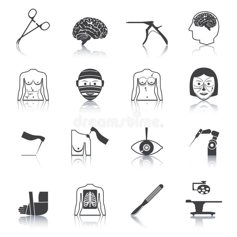 De zwarte van chirurgiepictogrammen royalty-vrije illustratie