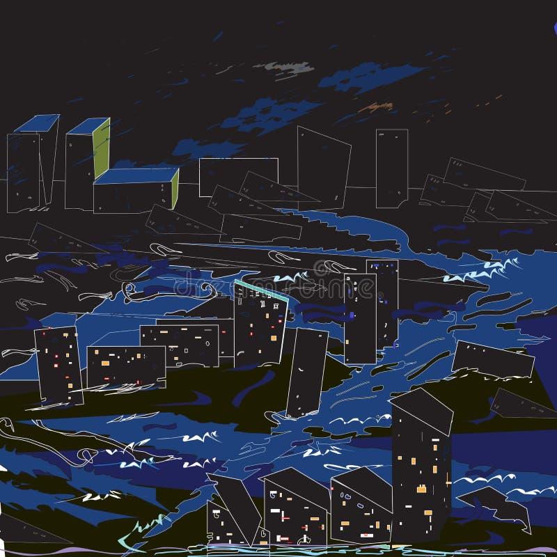 De zwarte van de stadsvloed stock illustratie