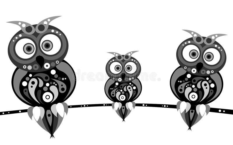 De zwarte van de uilenfamilie royalty-vrije illustratie