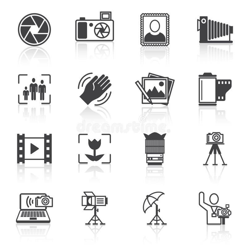 De zwarte van fotografiepictogrammen vector illustratie