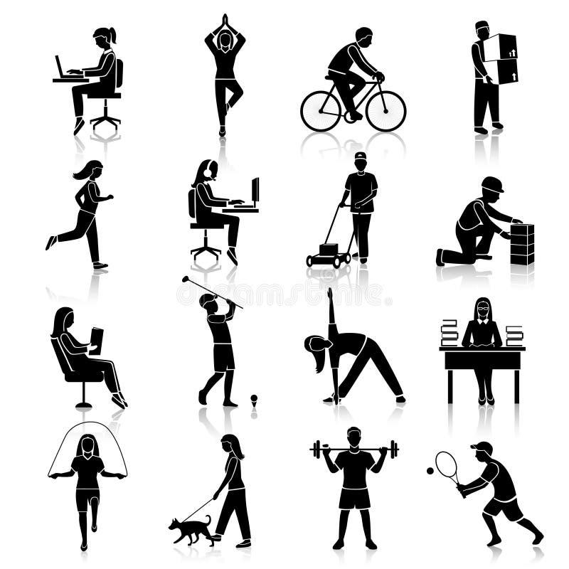 De zwarte van fysische activiteitpictogrammen vector illustratie