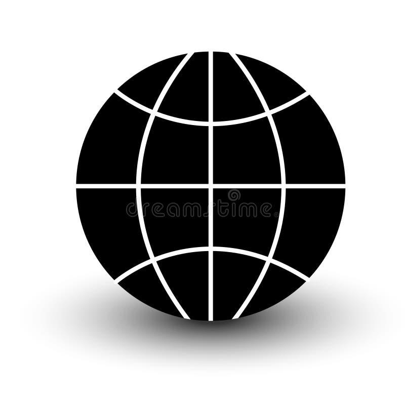 De zwarte van het bol wireframe pictogram op witte achtergrond vectore wordt geïsoleerd dat vector illustratie