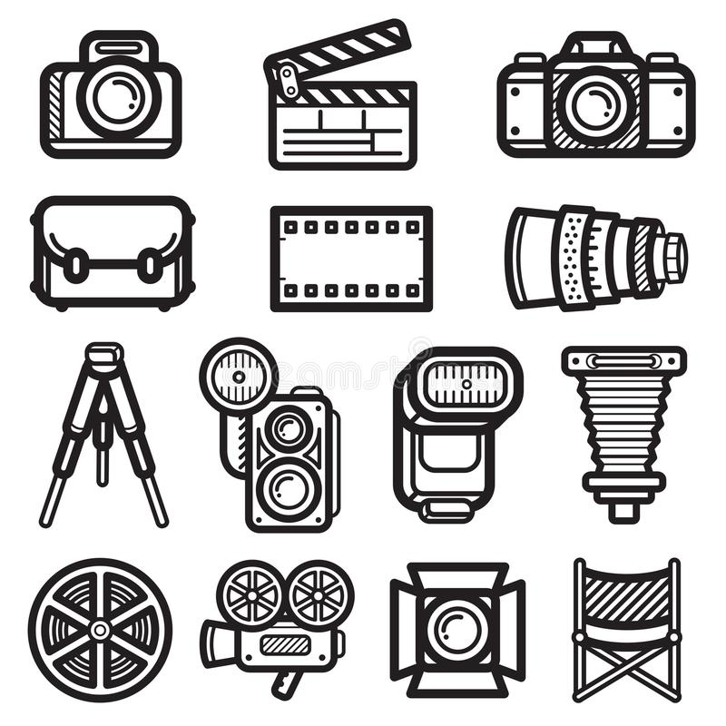 De Zwarte van het camerapictogram stock afbeeldingen