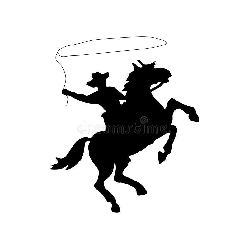De zwarte van het cowboysilhouet vector illustratie