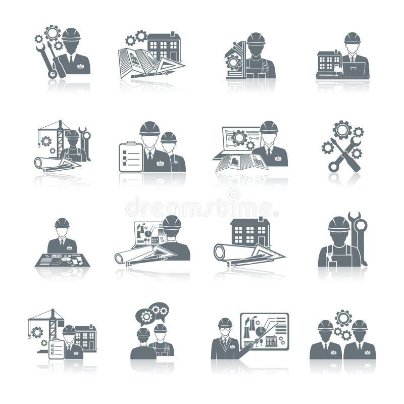 De zwarte van het ingenieurspictogram stock illustratie