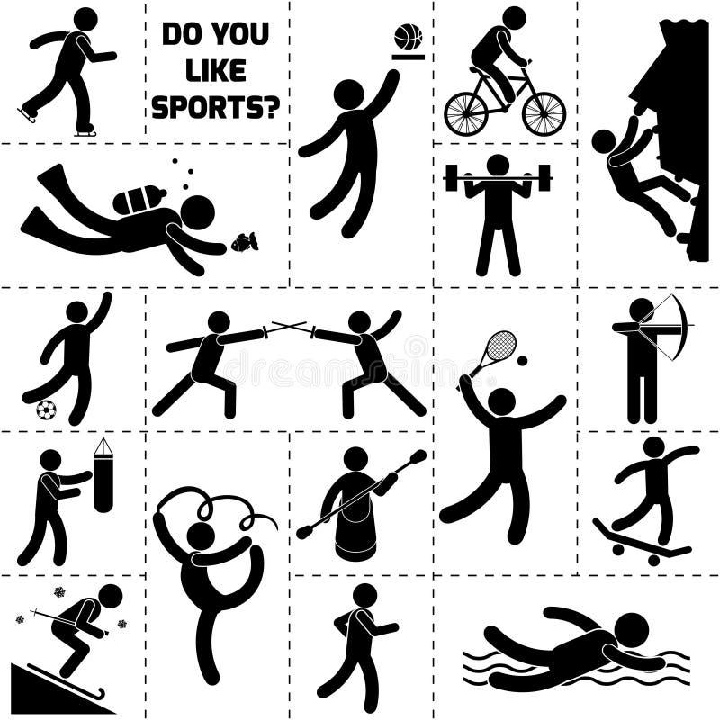 De Zwarte van het sportpictogram royalty-vrije illustratie