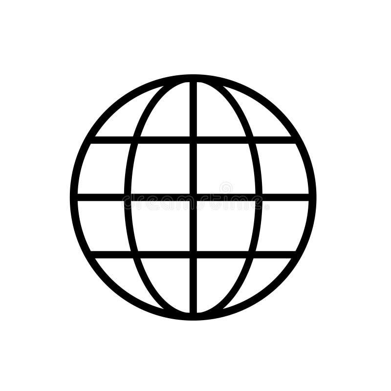 De zwarte van het wereldpictogram op witte vector als achtergrond stock illustratie
