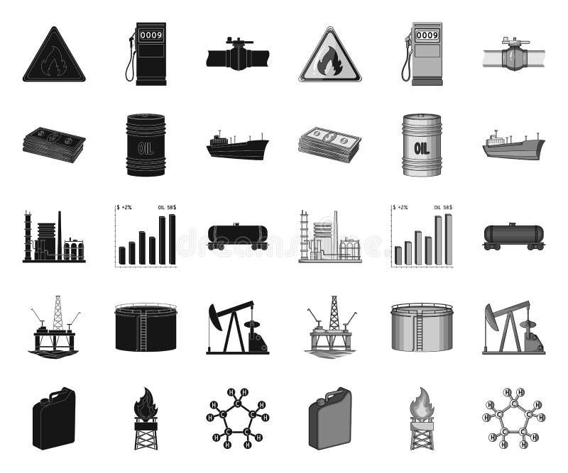 De zwarte van de olieindustrie monopictogrammen in vastgestelde inzameling voor ontwerp Materiaal en de voorraadweb van het oliep royalty-vrije illustratie