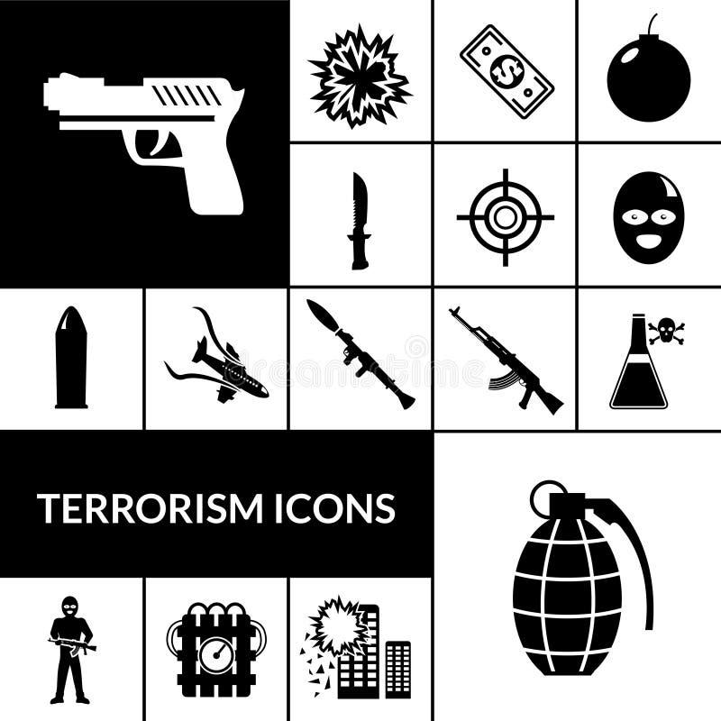 De Zwarte van terrorismepictogrammen vector illustratie