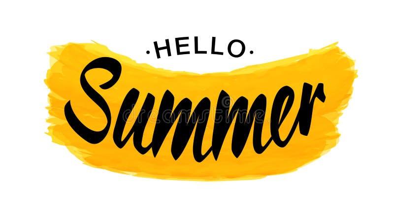 De zwarte Vector het Van letters voorzien Hello Zomer met gele die grungevorm op witte achtergrond wordt geïsoleerd stock illustratie