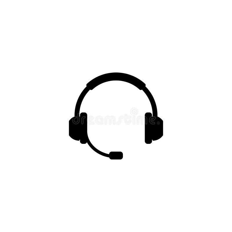 De zwarte vector van het hoofdtelefoonsilhouet met mic royalty-vrije illustratie