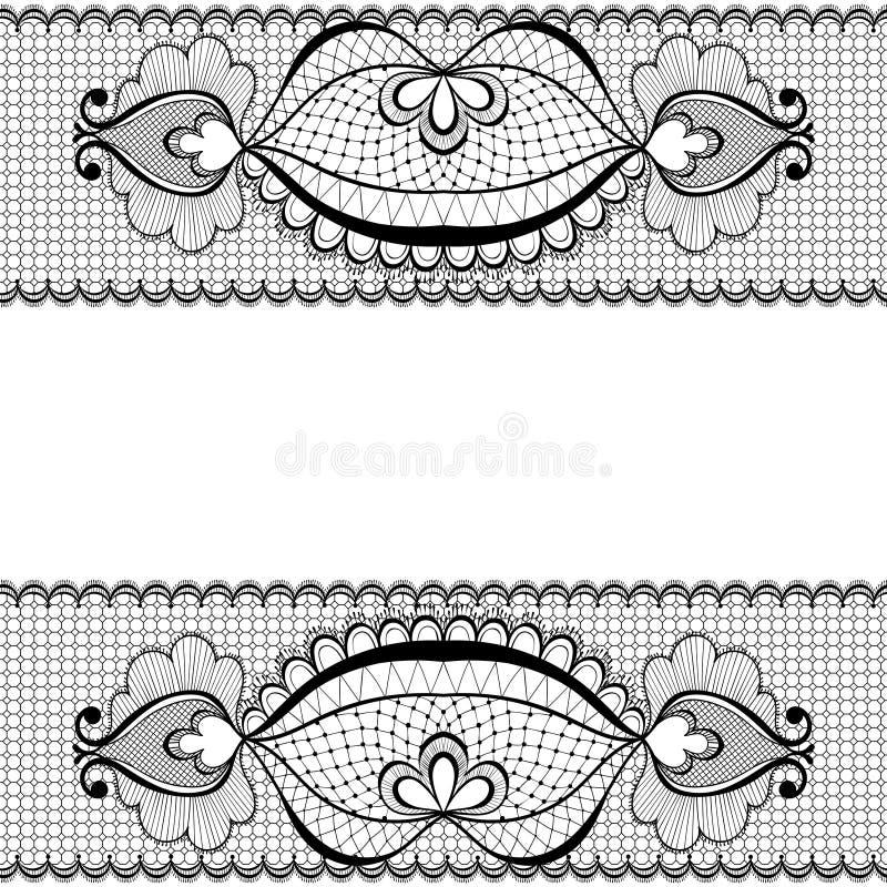 De zwarte vectorillustratie van het kantkader voor uitstekende kaartdecoratie stock illustratie