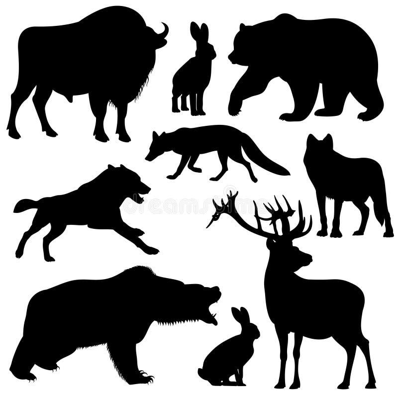 De zwarte vectorsilhouetten van overzichts wilde bosdieren stock illustratie