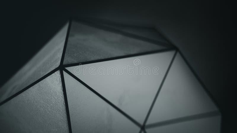 De zwarte veelhoekige vorm met 3D grungeoppervlakte geeft terug stock illustratie