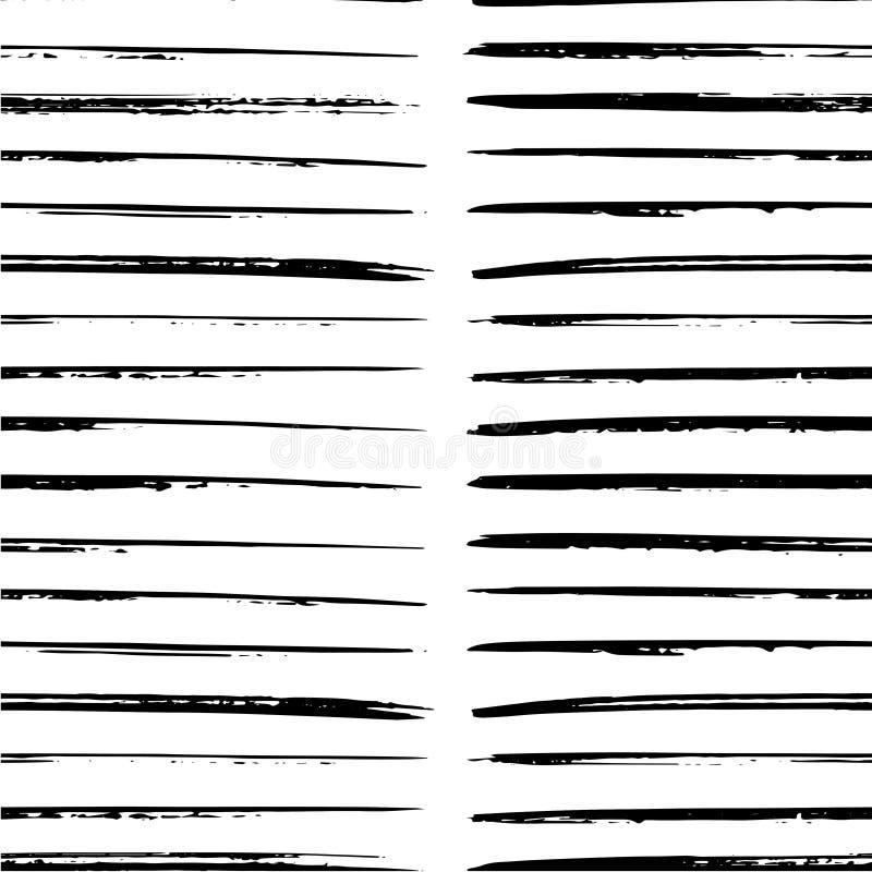 De zwarte verf strijkt naadloos patroon vector illustratie
