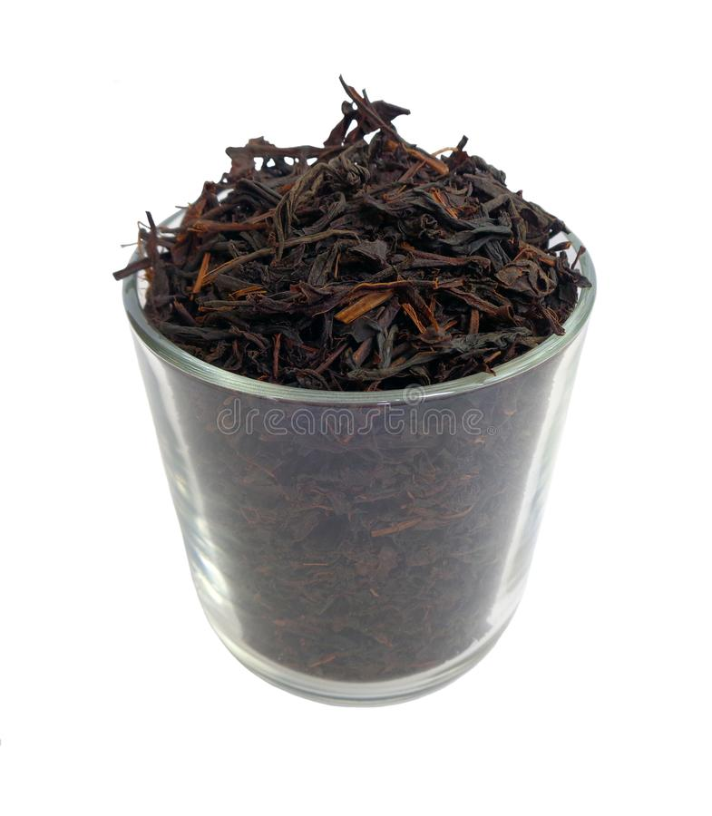 De zwarte vergist en droge theebladen van Ceylon stock foto's