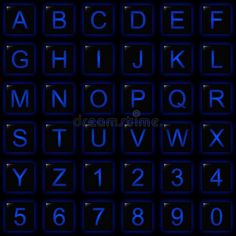 De zwarte Vierkante Blauwe Knopen van het Aantal van het Alfabet van de Gloed royalty-vrije stock foto