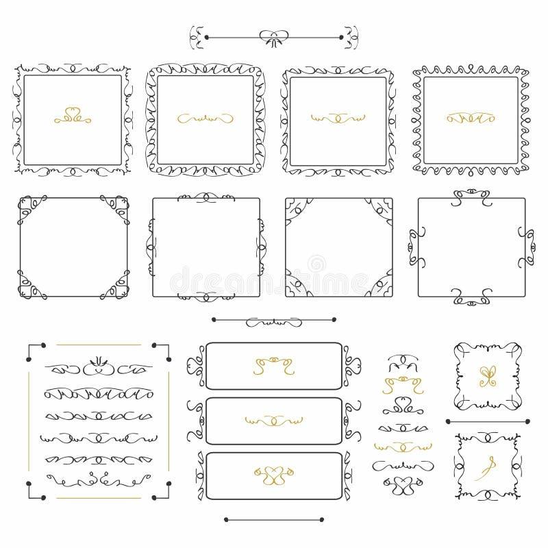 De zwarte vierkante kaders van de krabbellijn en geplaatste ontwerpelementen stock illustratie