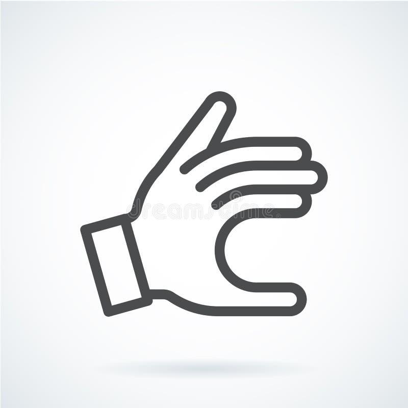 De zwarte vlakke hand van het pictogramgebaar van een mens geeft royalty-vrije illustratie