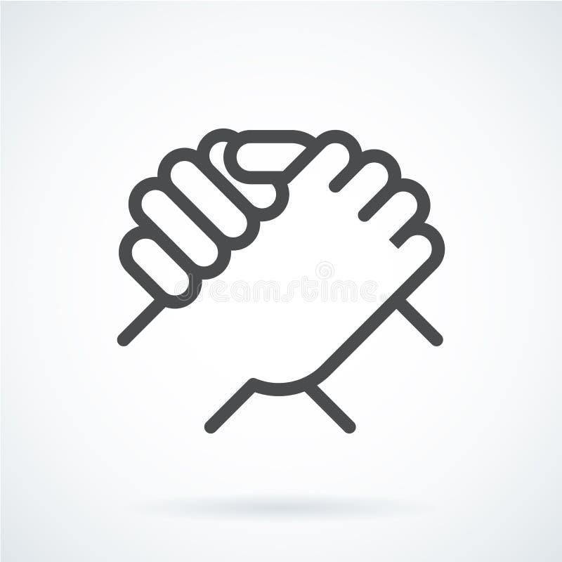 De zwarte vlakke hand van het pictogramgebaar van een menselijke groet, het armwrestling royalty-vrije illustratie