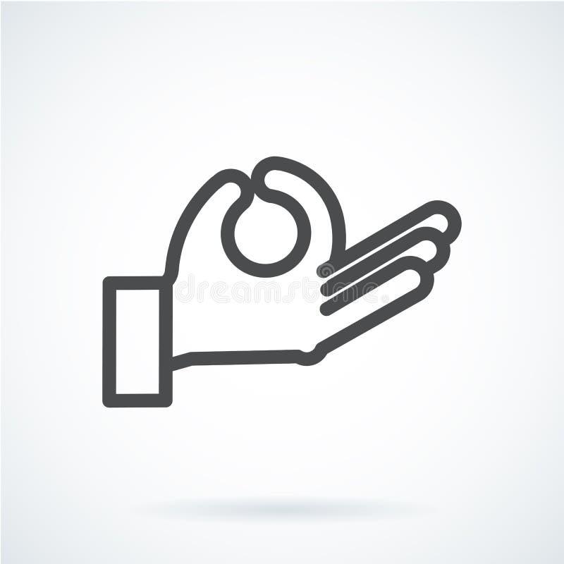 De zwarte vlakke hand van het pictogramgebaar van een menselijke meditatie, ontspant stock illustratie