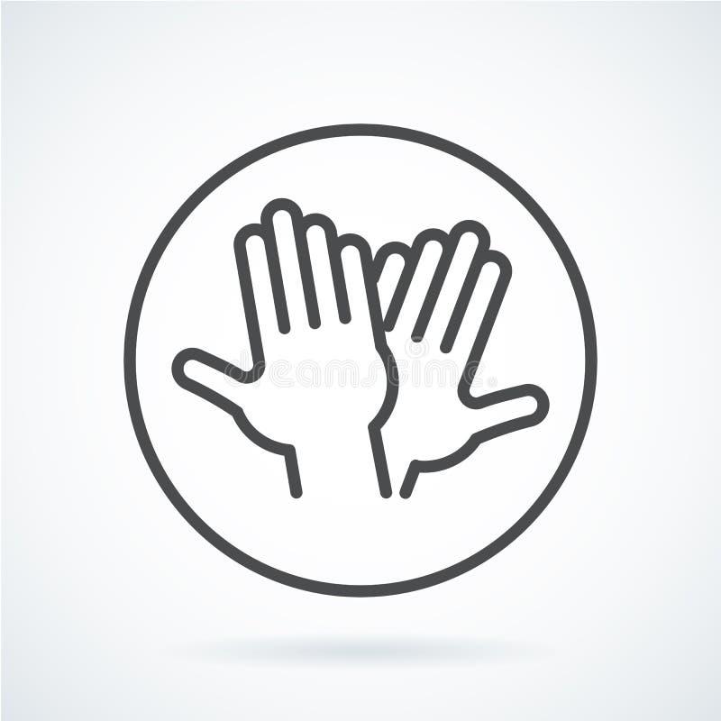 De zwarte vlakke hand van het pictogramgebaar van mens hoge vijf, het begroeten vector illustratie