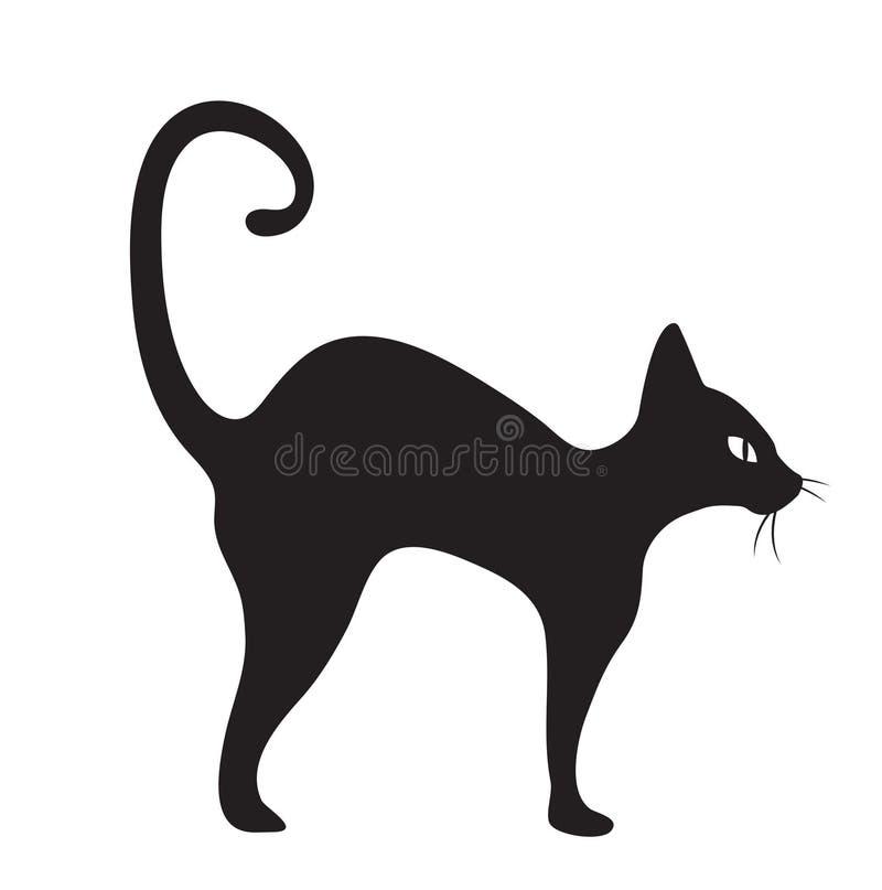 De zwarte vlakke stijl van het kattenpictogram Geïsoleerdj op witte achtergrond Vector illustratie vector illustratie