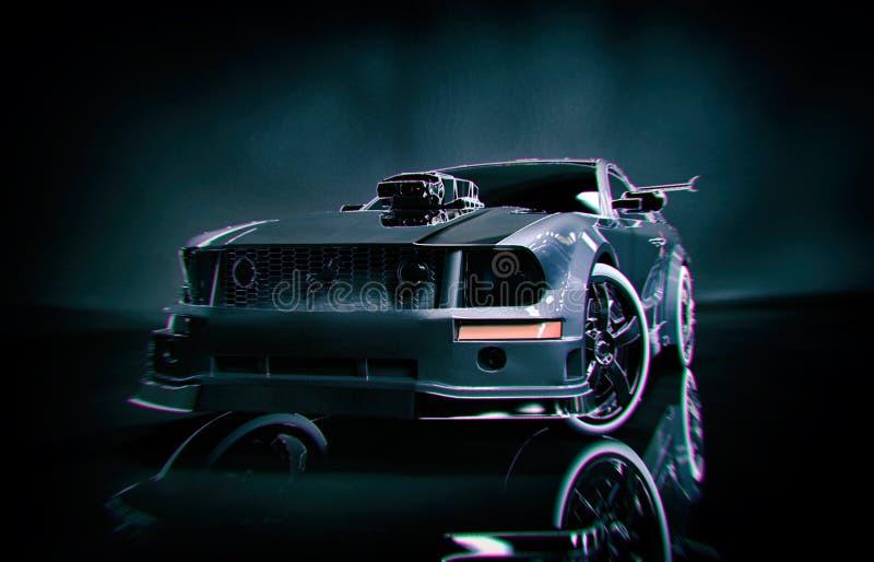 De zwarte Voorzijde van de Mustangsportwagen stock illustratie
