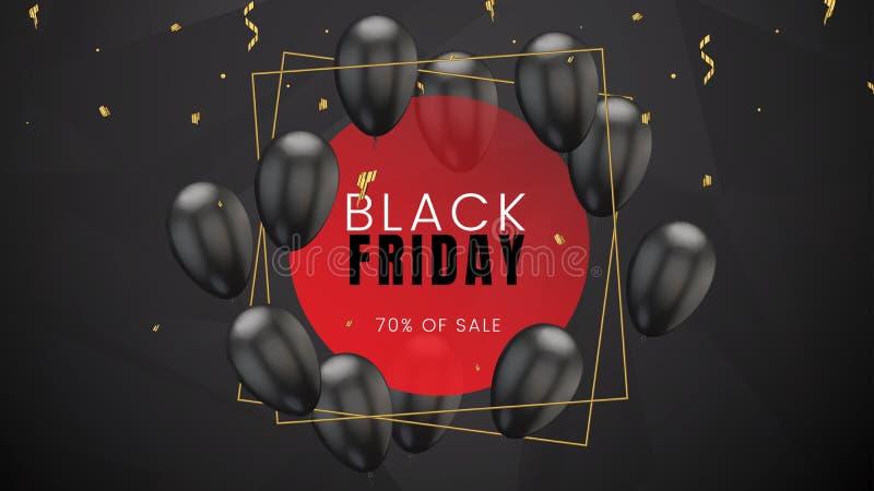 De zwarte vrijdag, de verkoop abstracte donkere achtergrond met gouden kader, de ballons en de confettien, kunnen voor bedrijfsbe stock illustratie