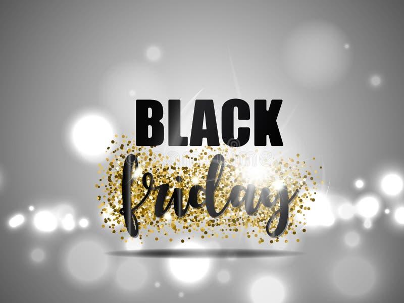 De zwarte vrijdagverkoop met goud schittert en lichteffect voor zilveren achtergrond Vector illustratie royalty-vrije illustratie