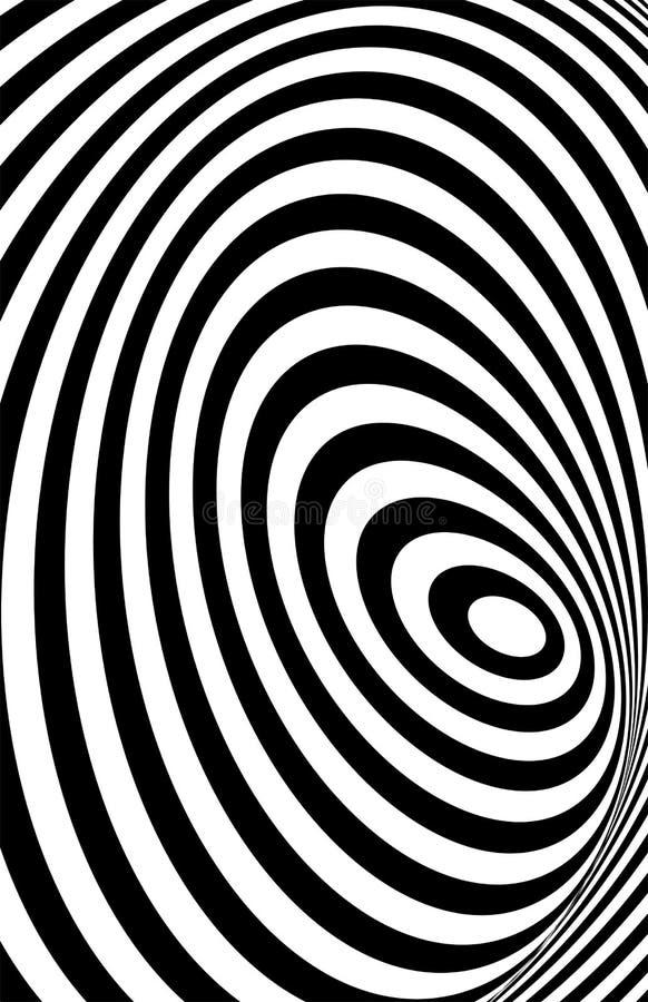 De zwarte witte 3d illusie van de lijnvervorming vector illustratie