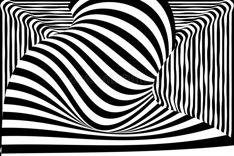 De zwarte witte 3d illusie van de lijnvervorming stock illustratie