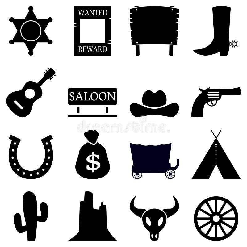 De Zwarte & Witte Pictogrammen van Wilde Westennen royalty-vrije illustratie