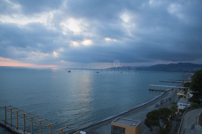 De Zwarte Zee bij zonsondergang stock fotografie