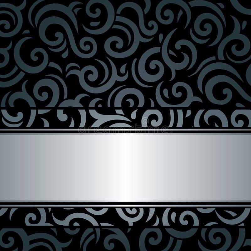 De zwarte & zilveren achtergrond van het luxe uitstekende behang stock illustratie