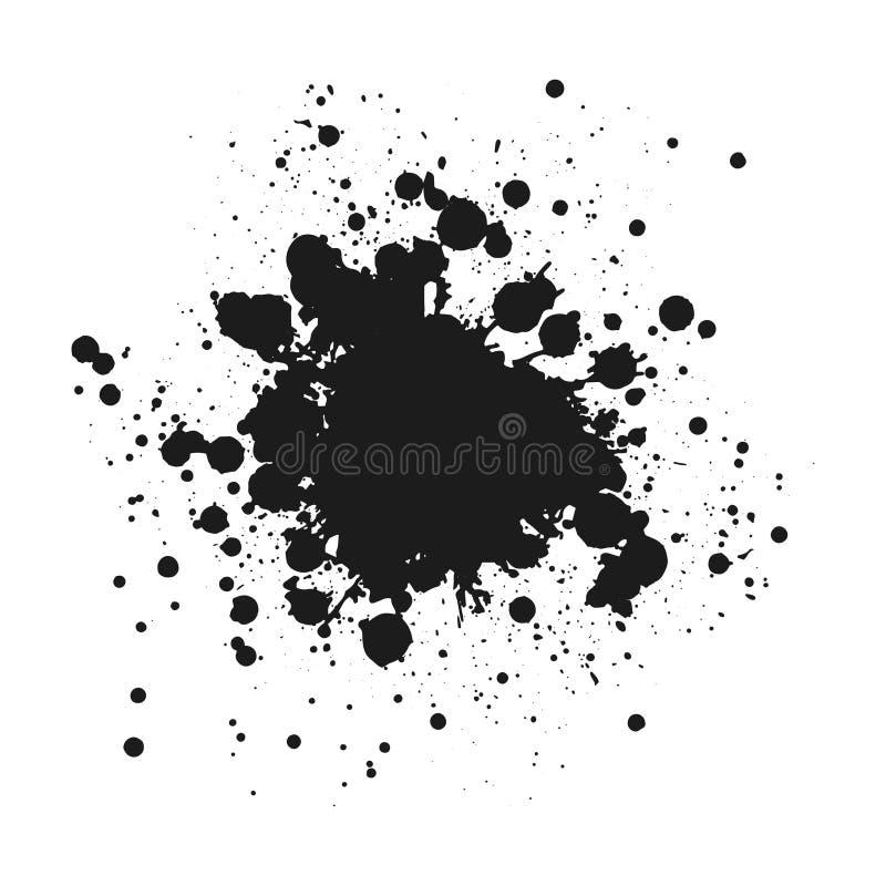 De zwarte zwart-wit inkt of de verf bevlekken grunge achtergrond Textuurvector De Noodkorrel van de stofbekleding De zwarte ploet vector illustratie