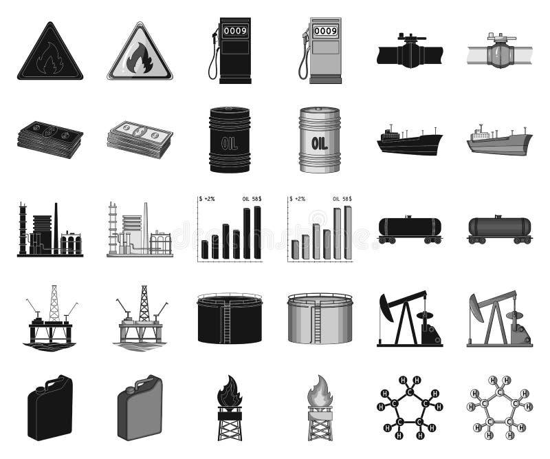 De zwarte, zwart-wit pictogrammen van de olieindustrie in vastgestelde inzameling voor ontwerp Materiaal en de voorraadweb van he vector illustratie