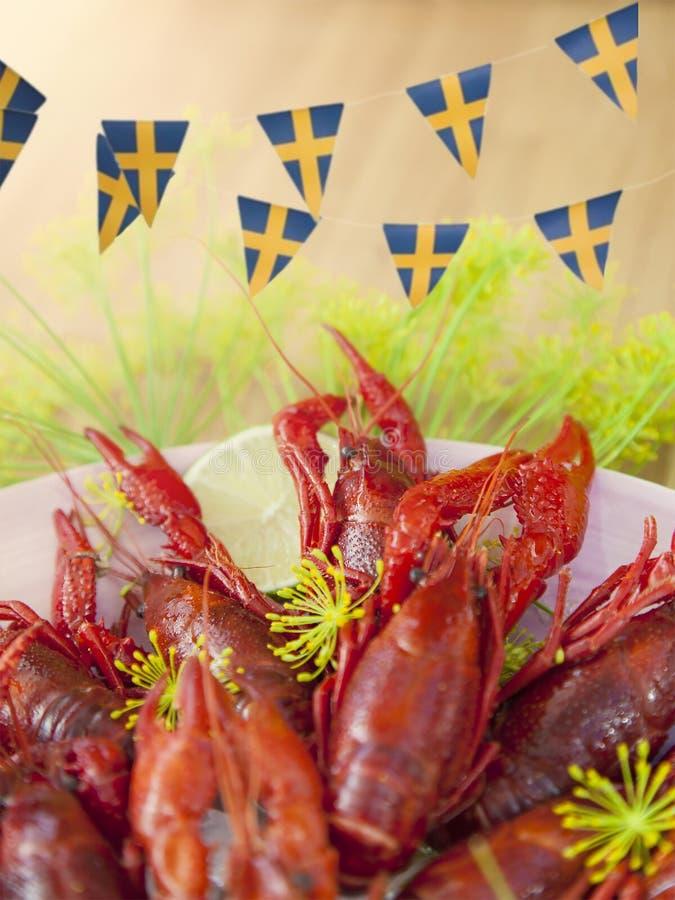 De Zweedse partij van Rivierkreeften stock foto