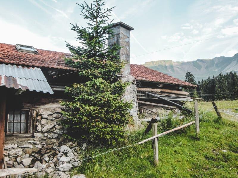 De Zwitserse alpen in de de zomer oude schuur royalty-vrije stock foto