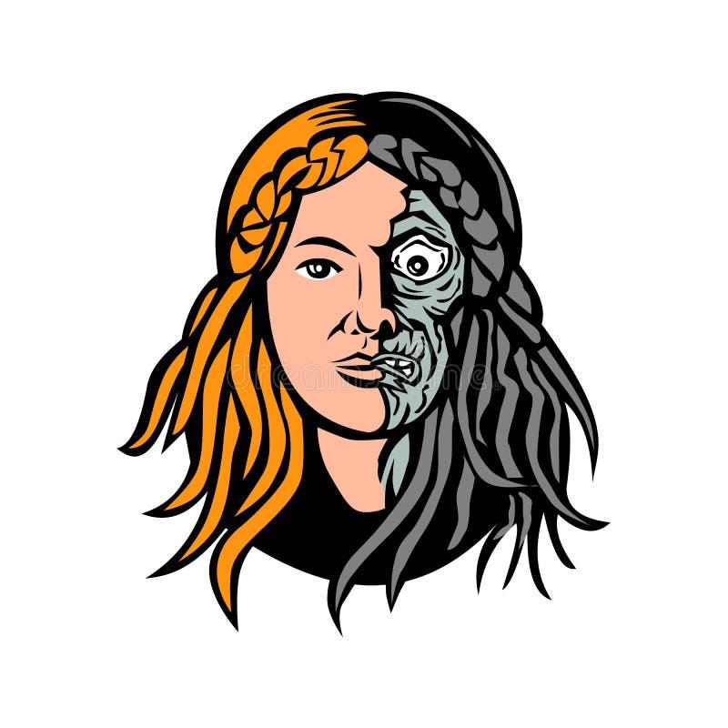 Dea dei norvegesi dei Hel della testa di morte retro illustrazione di stock