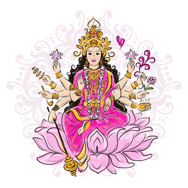 Dea indiana Shakti, schizzo per la vostra progettazione royalty illustrazione gratis