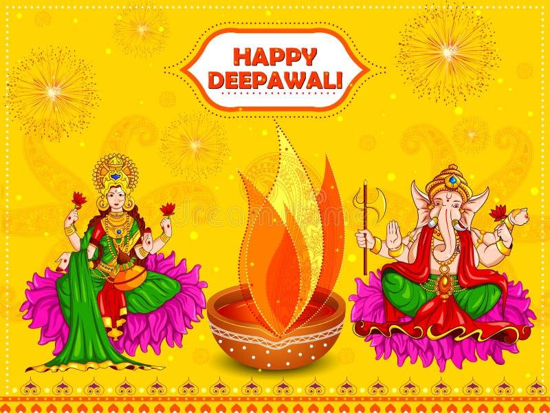 Dea Lakshmi e Lord Ganesha per la festa felice di festival di Diwali illustrazione vettoriale