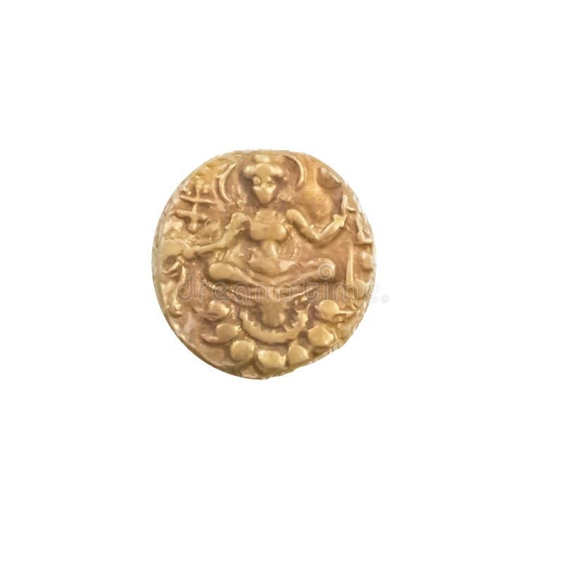 Dea messa antica della moneta di oro di dinastia dell'India Gupta fotografie stock