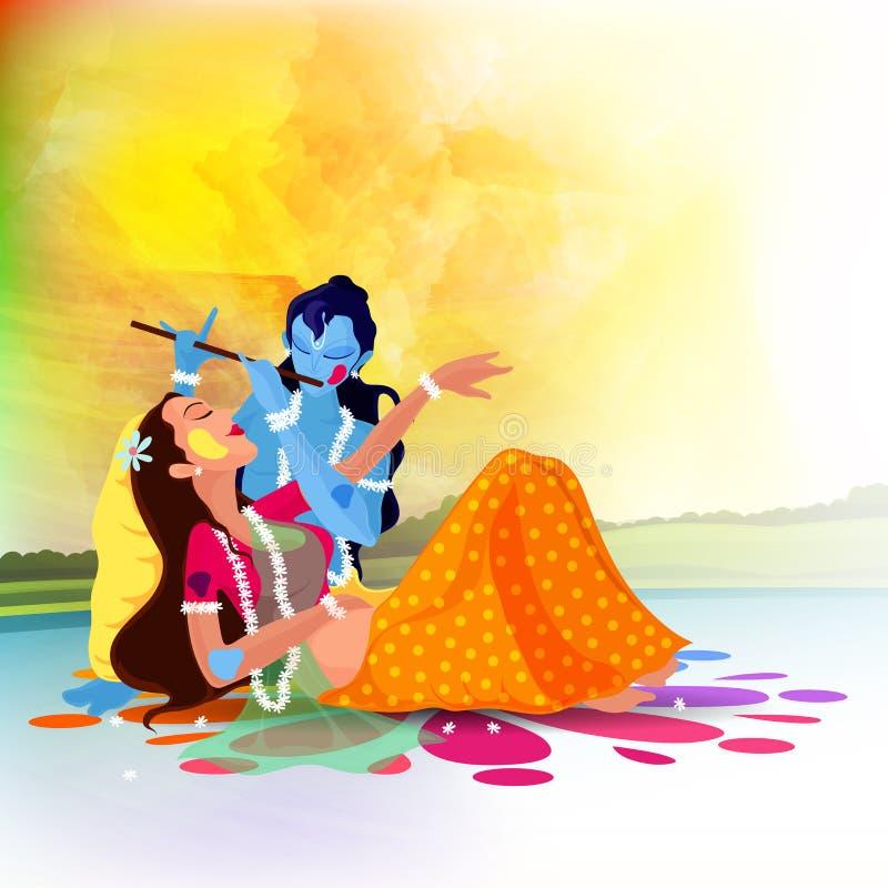 Dea Radha con Lord Krishna per la celebrazione di Holi illustrazione di stock