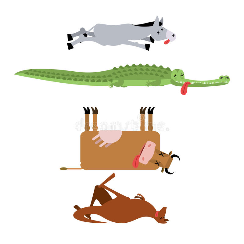 Dead animals set 3. Donkey and crocodile. Cow and kangaroo. animal is death. Corpse of Beast royalty free illustration